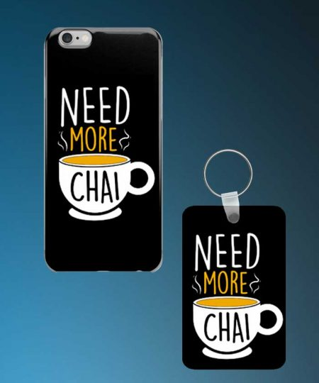 Need More Chai Mobile Case And Keychain By Roshnai - Pickshop.Pk