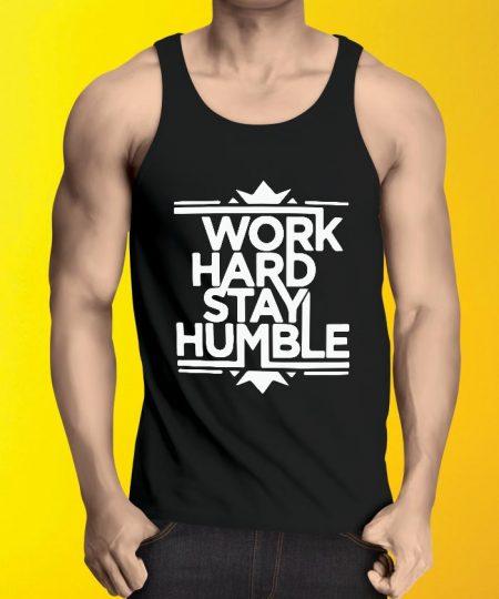 Work Hard Stay Black Tank Top By Teez Mar Khan - Pickshop.Pk