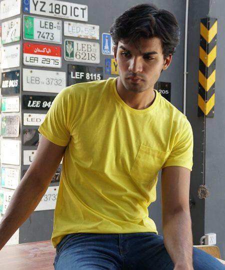 Yellow Pocket Tee By Paradigm - Pickshop.pk