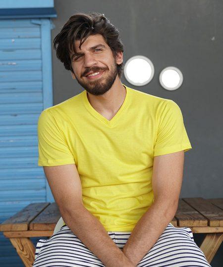 Yellow V Neck By Paradigm - Pickshop.pk