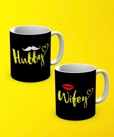 Hubby Wife Mug By Teez Mar Khan - Pickshop.pk