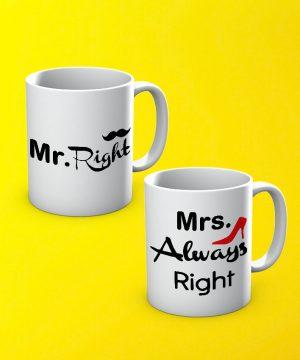 Mr Mrs Right Mug By Teez Mar Khan - Pickshop.pk