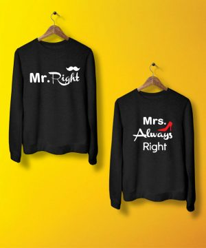 Mr Mrs Right Sweatshirt By Teez Mar Khan - Pickshop.pk
