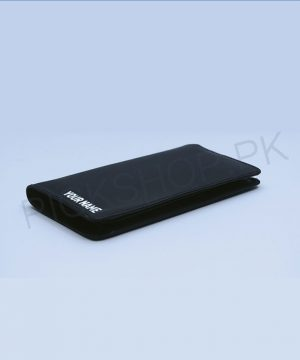 Name Printed Men's Long Leather Wallet (Black) By Roshnai - Pickshop.pk