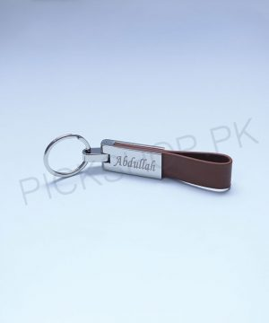 Personalized Metal Engraved Leather Keychain By Roshnai - Pickshop.pk