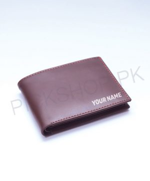 Personalized Name Men's Wallet (Brown) By Roshnai - Pickshop.pk