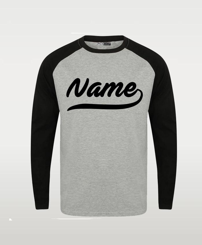 Grey Black Custom Name Raglan